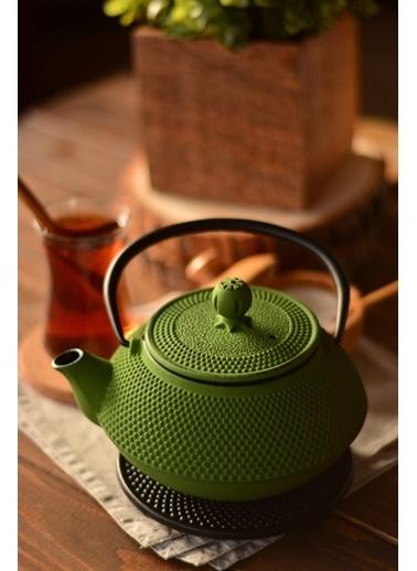 Taşev Linden - Sümbül 800 ml Fıstık Yeşil Döküm Çaydanlık-Bambum